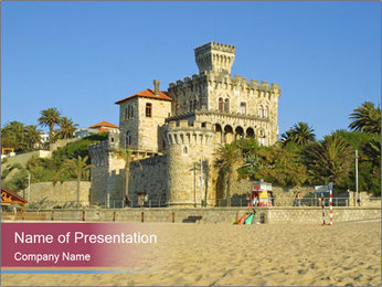 Estoril castle near Lisbon, Portugal PowerPoint Template - Slide 1