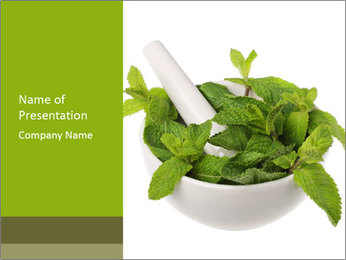 Mortar with mint isolated PowerPoint Template - Slide 1