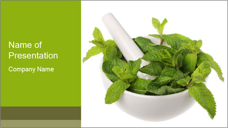 Mortar with mint isolated PowerPoint Template