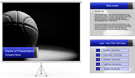 White Basket Ball PowerPoint Template
