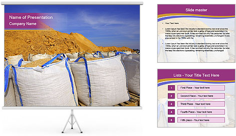 White big bag sand sacks quarry perspective PowerPoint Template
