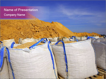 White big bag sand sacks quarry perspective PowerPoint Template - Slide 1