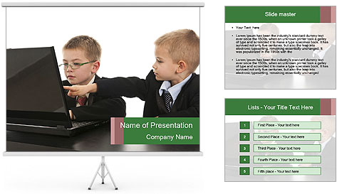 Two little boys dressed up in suits pretending to be businessmen PowerPoint Template