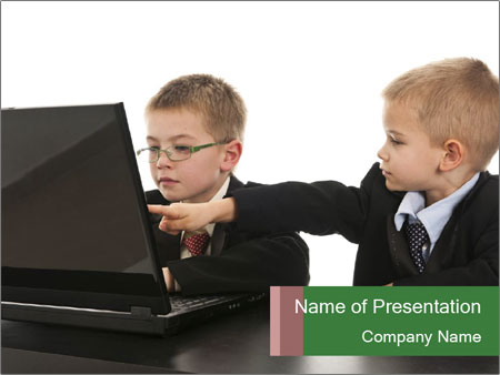 Two little boys dressed up in suits pretending to be businessmen PowerPoint Templates
