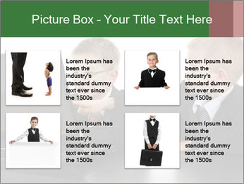Two little boys dressed up in suits pretending to be businessmen PowerPoint Template - Slide 14