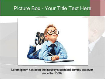 Two little boys dressed up in suits pretending to be businessmen PowerPoint Template - Slide 16