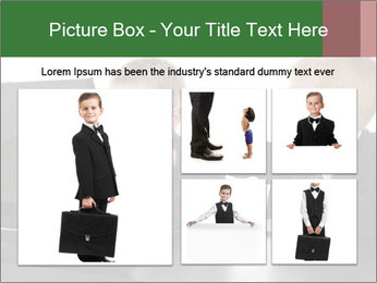 Two little boys dressed up in suits pretending to be businessmen PowerPoint Template - Slide 19