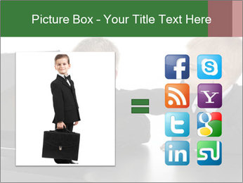 Two little boys dressed up in suits pretending to be businessmen PowerPoint Template - Slide 21