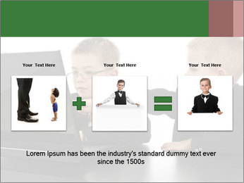 Two little boys dressed up in suits pretending to be businessmen PowerPoint Template - Slide 22