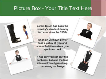 Two little boys dressed up in suits pretending to be businessmen PowerPoint Template - Slide 24