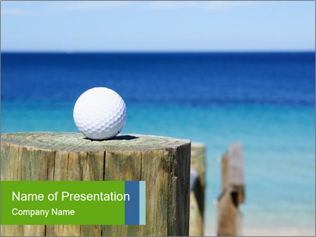 Golf ball on the background of the ocean PowerPoint Template