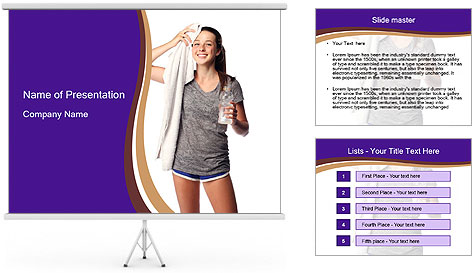 Cute teen cooling down after the workout PowerPoint Template