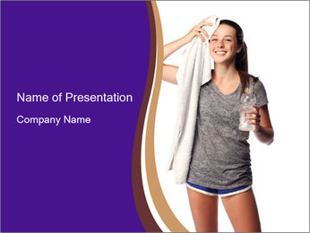 Cute teen cooling down after the workout PowerPoint Template - Slide 1