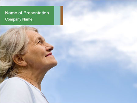Beautiful older woman on the sky PowerPoint Template