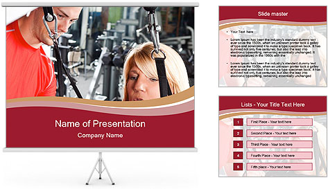 Personal trainer assisting PowerPoint Template