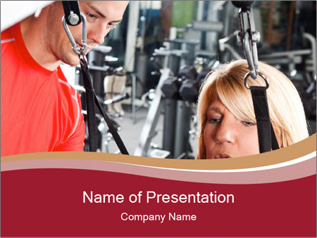 Personal trainer assisting PowerPoint Templates