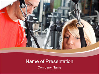 Personal trainer assisting PowerPoint Templates - Slide 1
