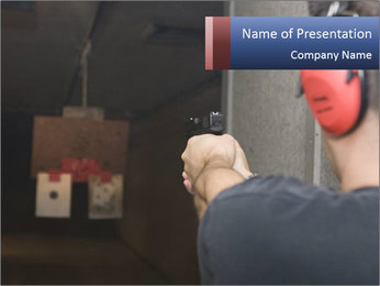 Target practicing with gun In the shooting range PowerPoint Template