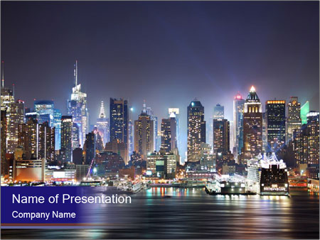 New York City Manhattan skyline panorama PowerPoint Templates