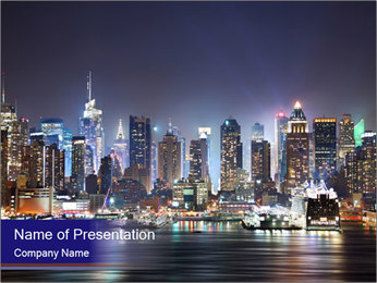 New York City Manhattan skyline panorama PowerPoint Templates - Slide 1