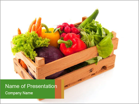 Wooden crate with a diversity of fresh vegetables PowerPoint Template