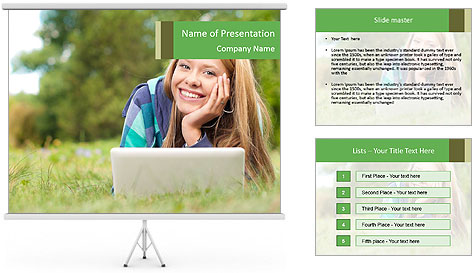 Beautiful young student girl lying on grass with laptop PowerPoint Template