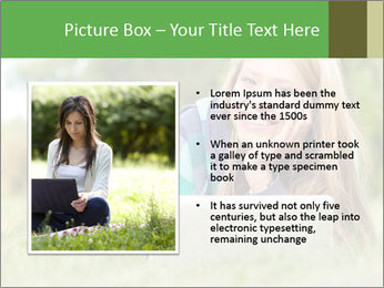 Beautiful young student girl lying on grass with laptop PowerPoint Template - Slide 13