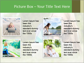 Beautiful young student girl lying on grass with laptop PowerPoint Template - Slide 14