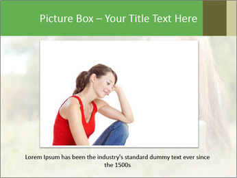Beautiful young student girl lying on grass with laptop PowerPoint Template - Slide 15