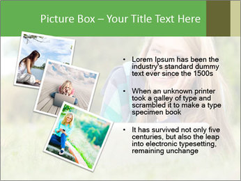 Beautiful young student girl lying on grass with laptop PowerPoint Template - Slide 17