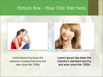 Beautiful young student girl lying on grass with laptop PowerPoint Template - Slide 18