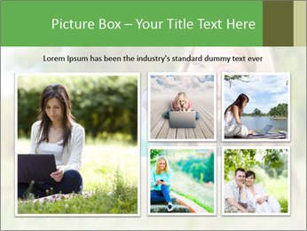 Beautiful young student girl lying on grass with laptop PowerPoint Template - Slide 19