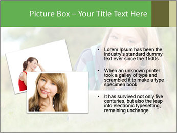 Beautiful young student girl lying on grass with laptop PowerPoint Template - Slide 20