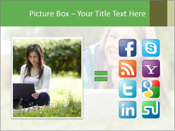 Beautiful young student girl lying on grass with laptop PowerPoint Template - Slide 21