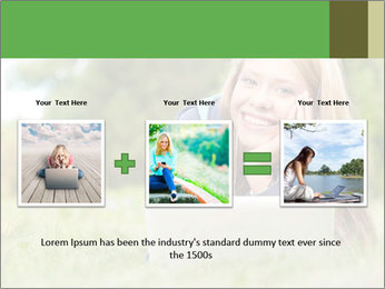 Beautiful young student girl lying on grass with laptop PowerPoint Template - Slide 22