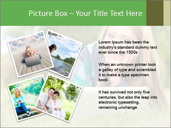 Beautiful young student girl lying on grass with laptop PowerPoint Template - Slide 23