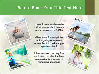 Beautiful young student girl lying on grass with laptop PowerPoint Template - Slide 24