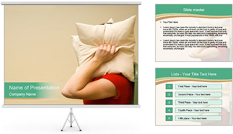 Woman suffering from noise and covering her head with a pillow PowerPoint Template