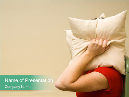 Woman suffering from noise and covering her head with a pillow PowerPoint Templates
