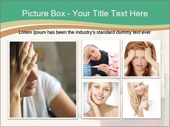 Woman suffering from noise and covering her head with a pillow PowerPoint Templates - Slide 19