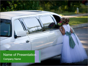 Girl with a bouquet looks in the window of the limousine and dreams PowerPoint Template - Slide 1