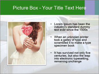 Girl with a bouquet looks in the window of the limousine and dreams PowerPoint Template - Slide 13