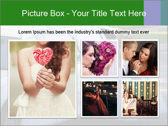Girl with a bouquet looks in the window of the limousine and dreams PowerPoint Template - Slide 19