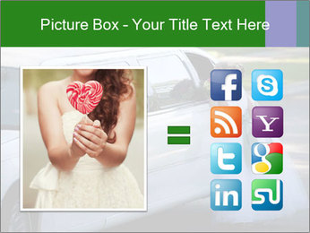 Girl with a bouquet looks in the window of the limousine and dreams PowerPoint Template - Slide 21