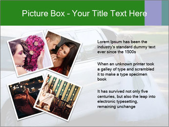 Girl with a bouquet looks in the window of the limousine and dreams PowerPoint Template - Slide 23