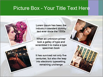 Girl with a bouquet looks in the window of the limousine and dreams PowerPoint Template - Slide 24