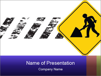 Construction Sign PowerPoint Template - Slide 1