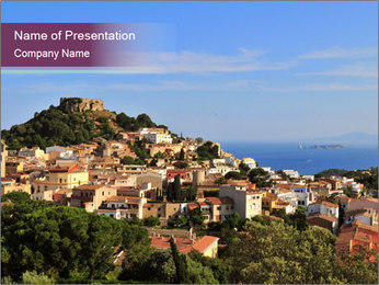 Hill In Spanish Cityscape PowerPoint Template