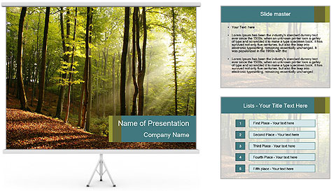 Backlight In Forest PowerPoint Template