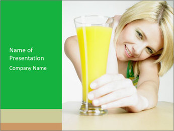 Woman And Orange Juice PowerPoint Template - Slide 1